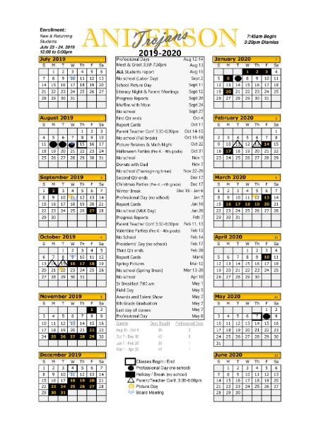 2020 Ap Calendar Anderson Public School   2019   2020 School Calendar